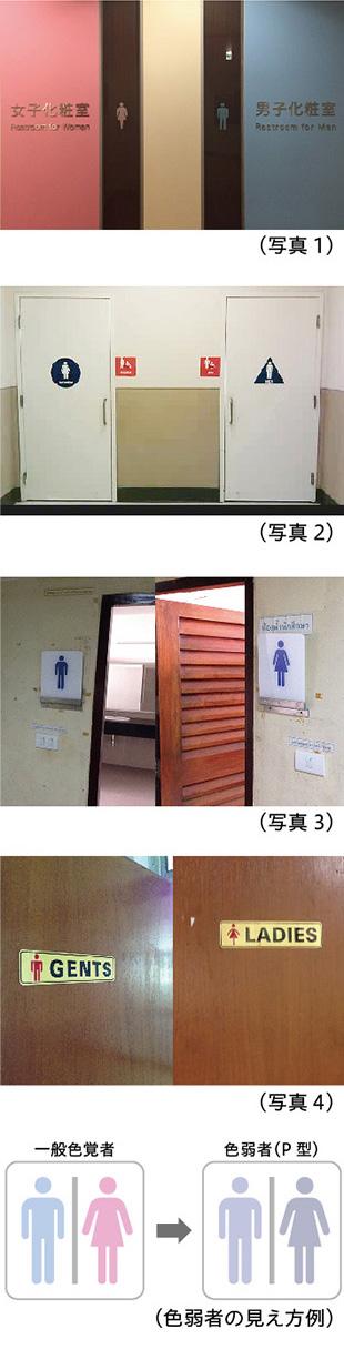 写真1,写真2,写真3,写真4,色弱者の見え方の例